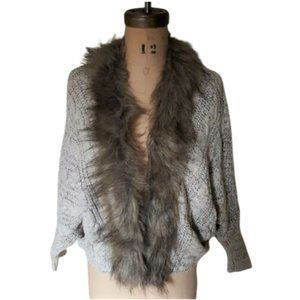 Lace up back ffaux fur collar cardigan sweater